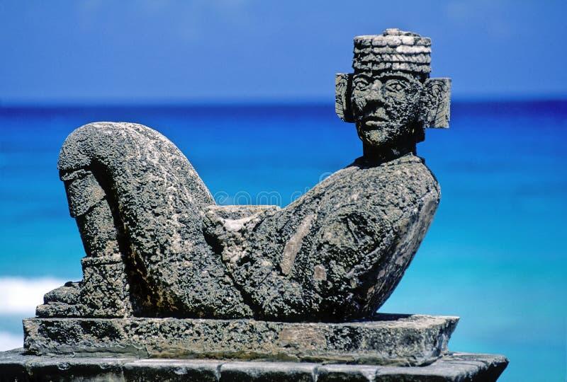 玛雅人雕塑 免版税库存照片