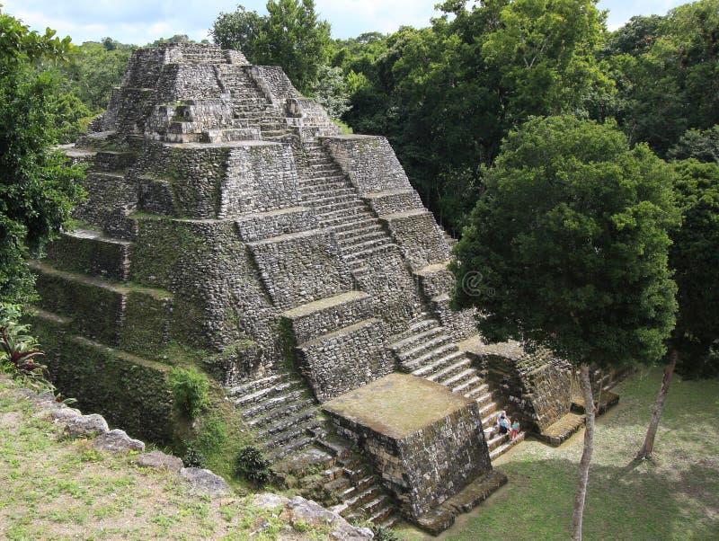 玛雅寺庙废墟在Yaxha,危地马拉的 免版税库存图片