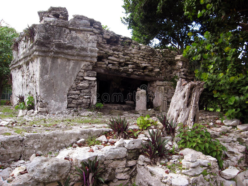 玛雅废墟在海滨del卡门, MX 免版税库存图片
