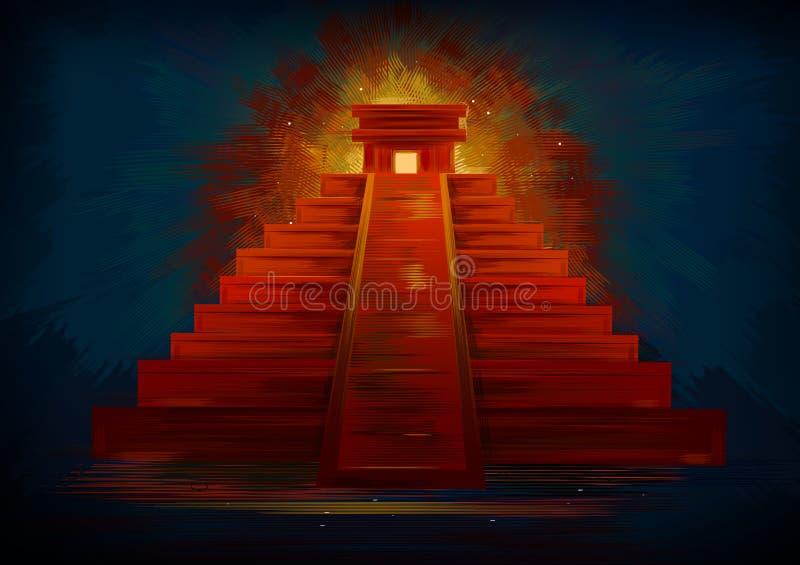 玛雅废墟的Chinhen Itza举世闻名的历史纪念碑在墨西哥` s尤卡坦半岛的 库存例证