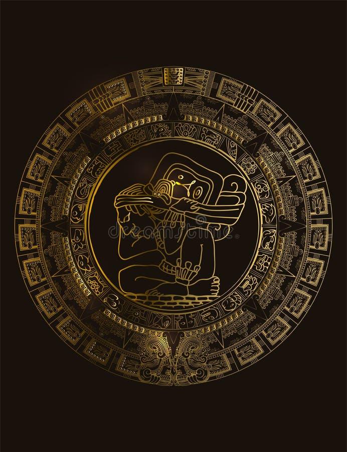 玛雅或阿兹台克传染媒介象形文字标志玛雅人日历  向量例证