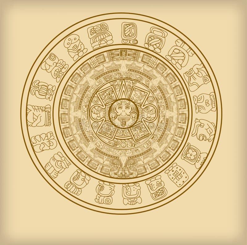 玛雅或阿兹台克象形文字标志玛雅人日历  向量例证