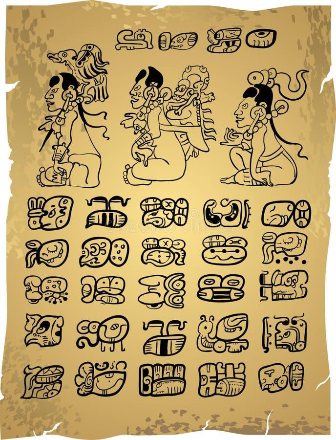 玛雅的象形文字 库存例证