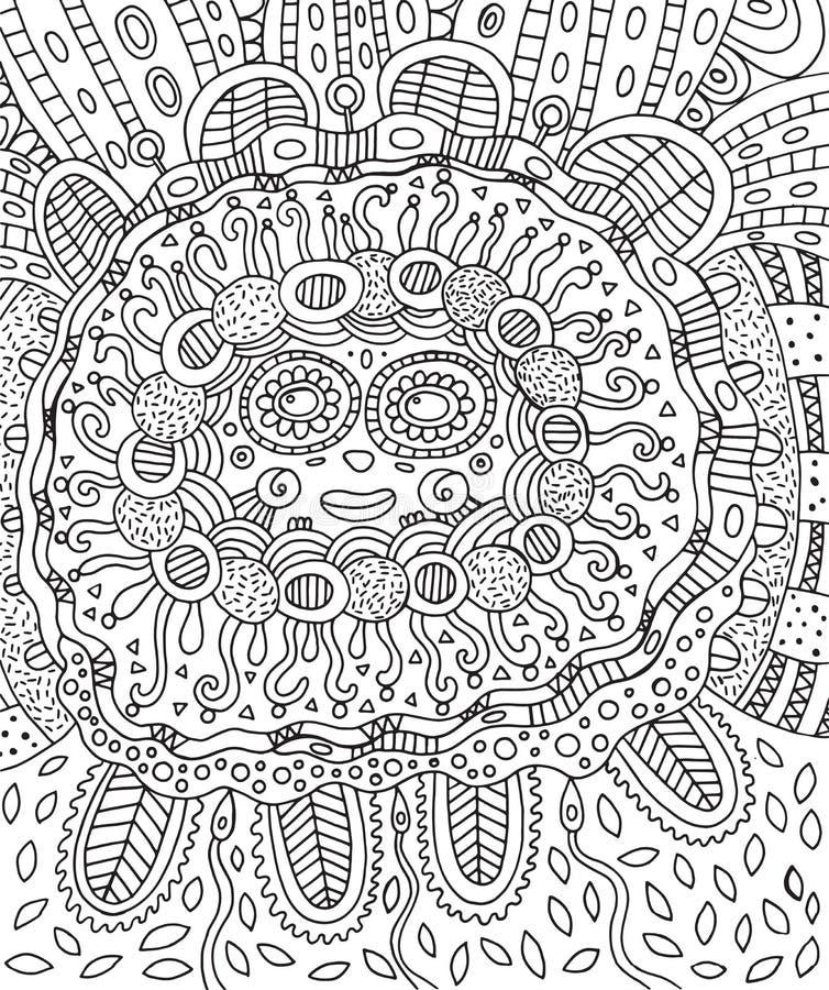 玛雅面孔 乱画成人的着色页与玛雅人 库存例证