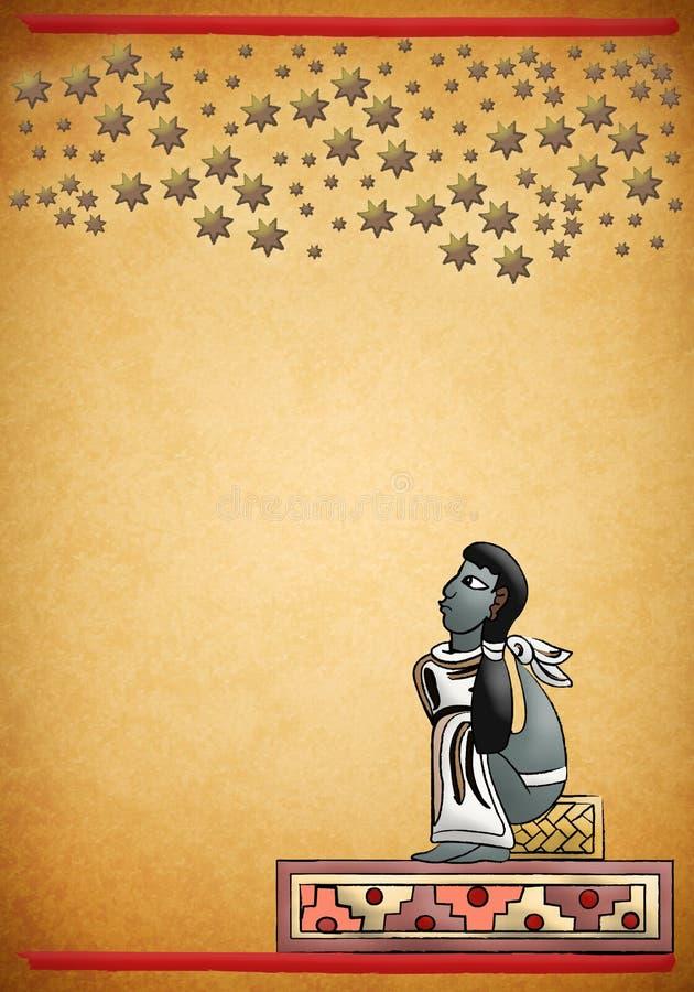 玛雅-阿兹台克人观察星座夜 皇族释放例证