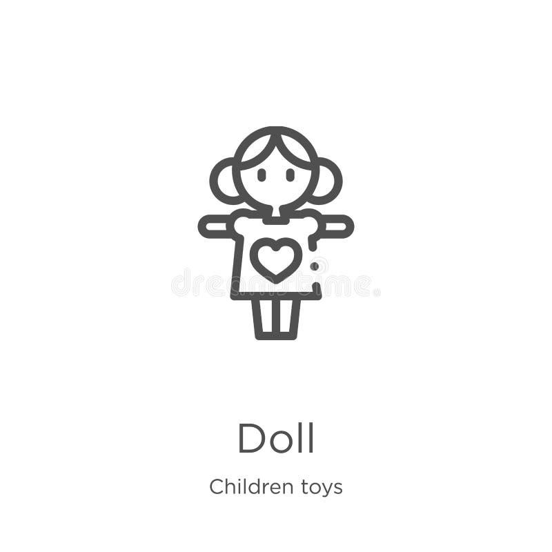 玩偶从儿童玩具汇集的象传染媒介 稀薄的线玩偶概述象传染媒介例证 概述,稀薄的线玩偶象为 向量例证