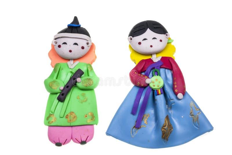 玩偶男性和女性韩国传统纪念品 免版税图库摄影