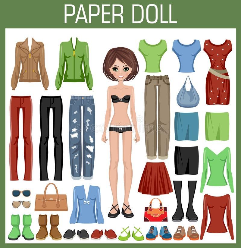 给玩偶纸张穿衣 向量例证