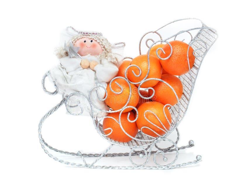 玩具俏丽的天使用蜜桔 图库摄影