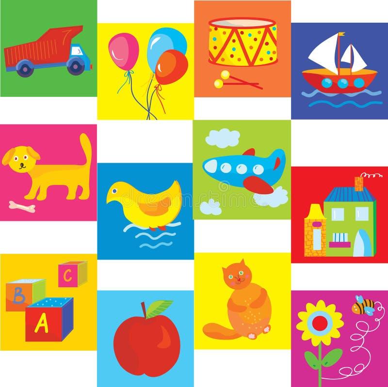 玩具和婴孩的符号集 向量例证