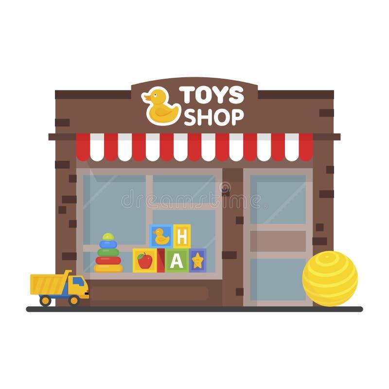 玩具商店窗口显示,外部大厦,哄骗玩具例证 库存例证