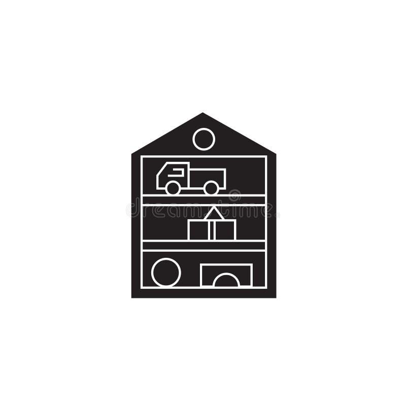 玩具壁橱黑色传染媒介概念象 玩具壁橱平的例证,标志 向量例证