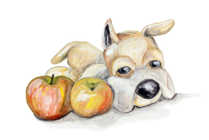 玩具女用连杉衬裤狗和苹果 向量例证