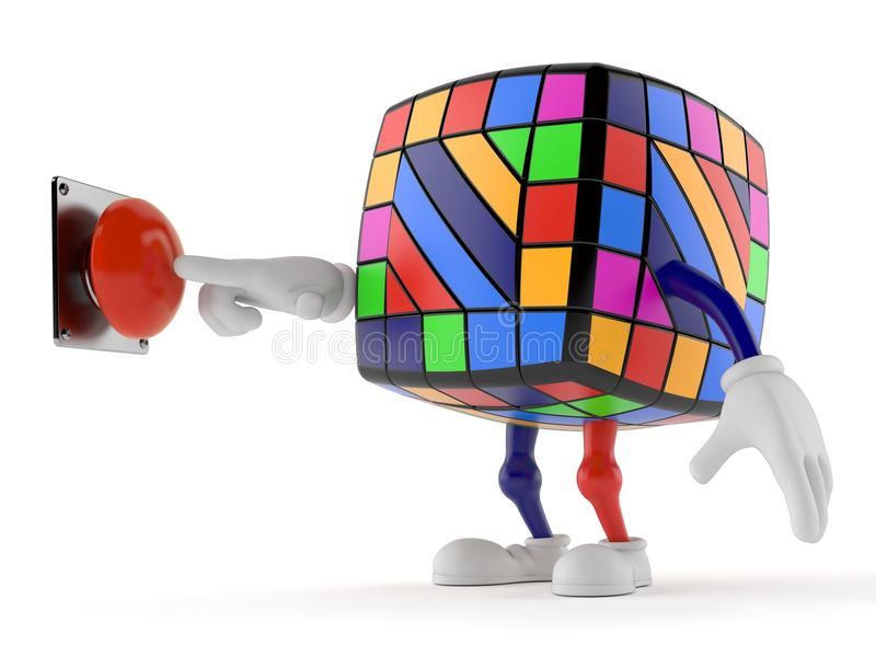 玩具按按钮的难题字符 向量例证