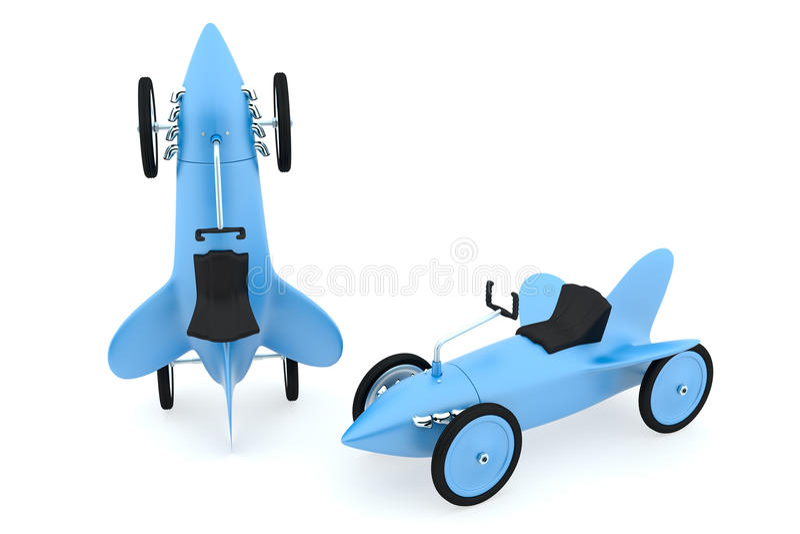 玩具火箭车汇集,蓝色颜色 库存例证