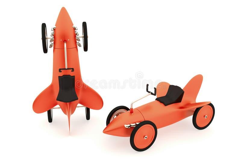 玩具火箭车汇集 库存例证