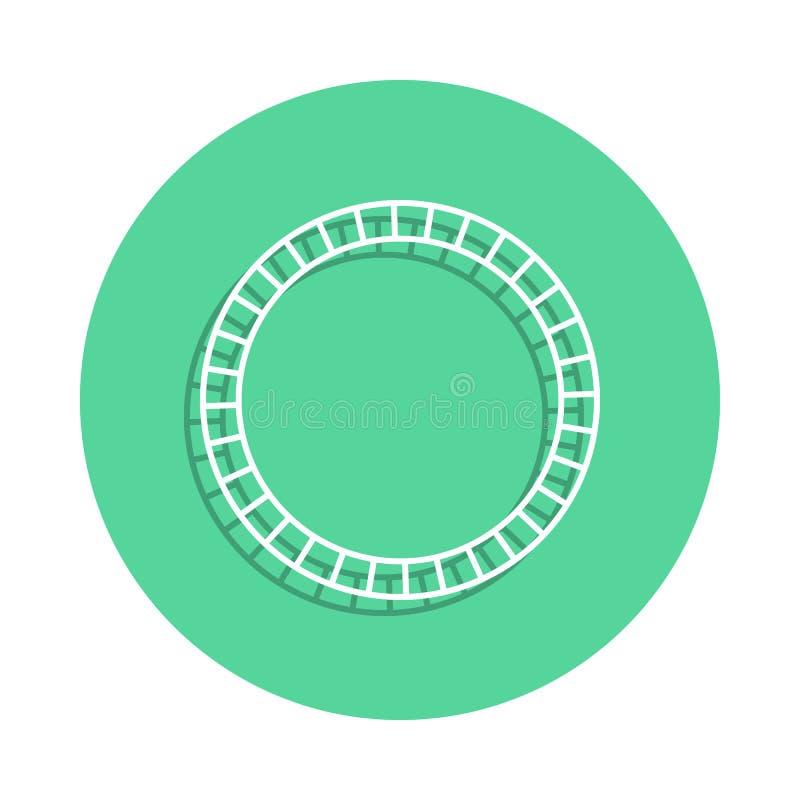 玩具火车用栏杆围在徽章样式的象 一玩具汇集象可以为UI, UX使用 库存例证