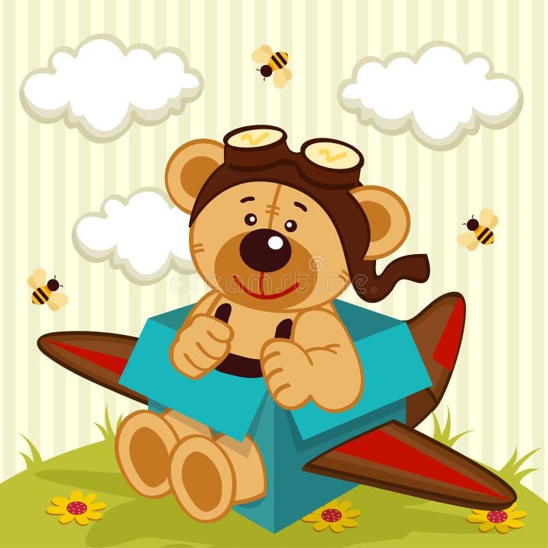 玩具熊做了飞机 库存例证