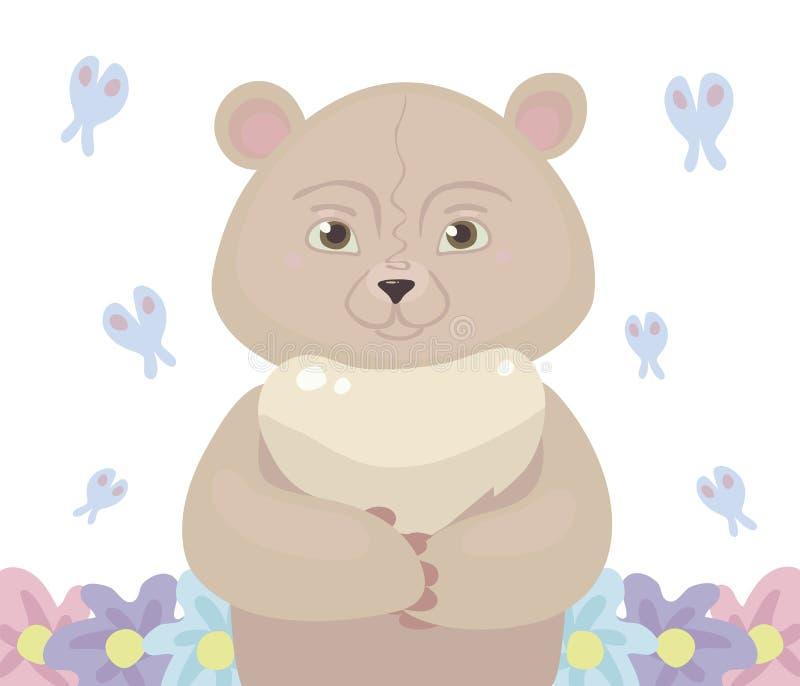 玩具熊动画片桃红色淡色在中心站立,飞行一只蓝色蝴蝶并且生长在白色backgroun隔绝的花 库存例证