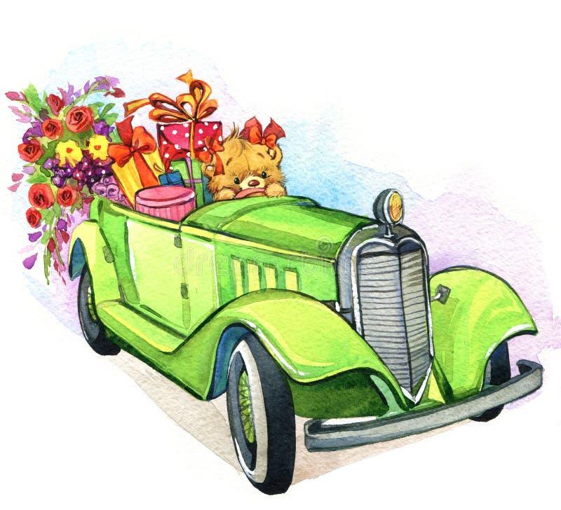 玩具熊和葡萄酒汽车 额嘴装饰飞行例证图象其纸部分燕子水彩 向量例证