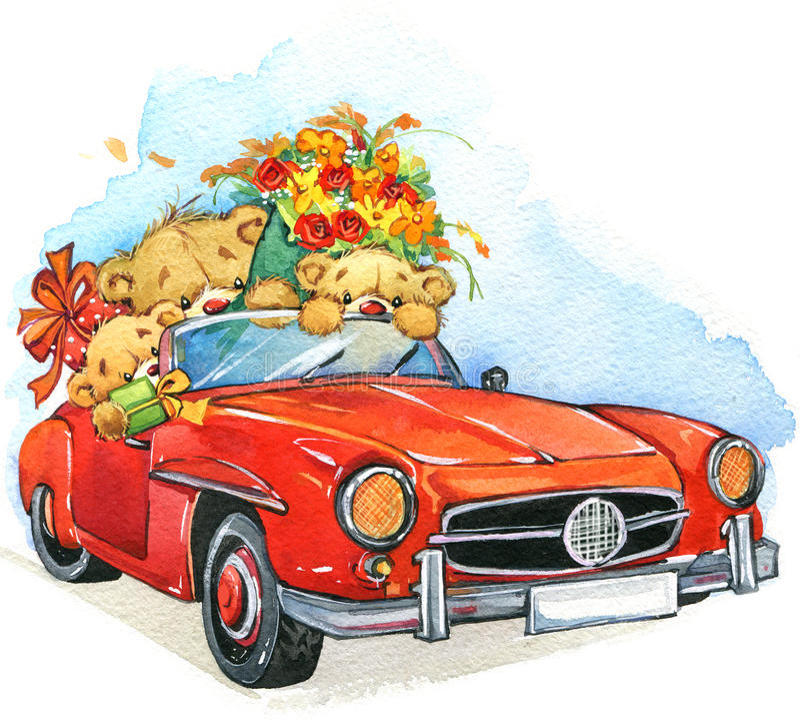 玩具熊和葡萄酒汽车 额嘴装饰飞行例证图象其纸部分燕子水彩 库存例证