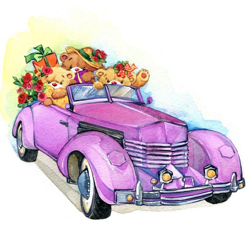 玩具熊和葡萄酒汽车 额嘴装饰飞行例证图象其纸部分燕子水彩 皇族释放例证