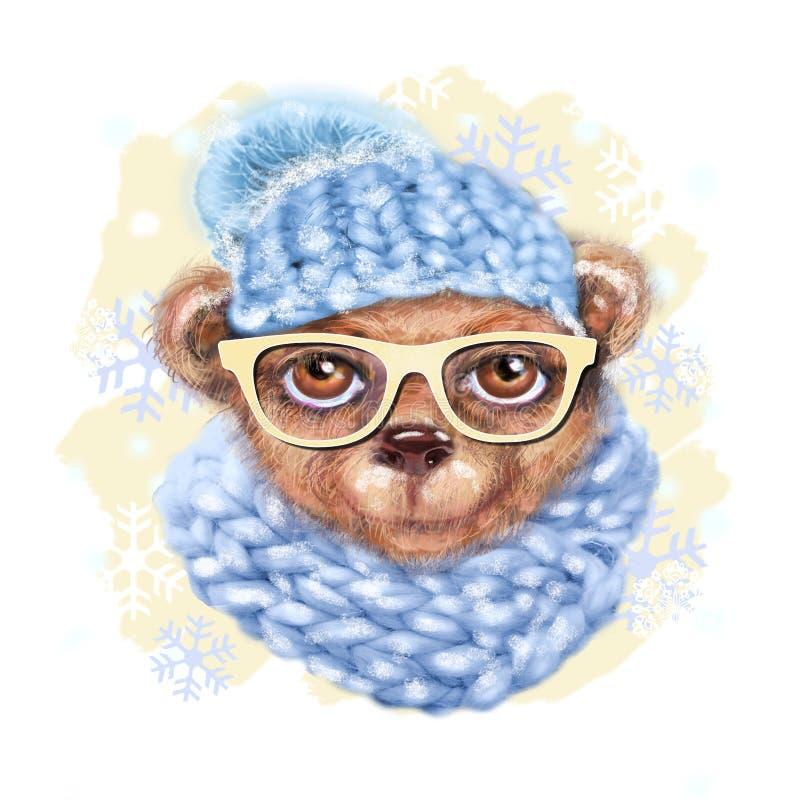 玩具熊手拉的画象与玻璃、帽子和围巾的 行家熊时尚画象  手拉的例证为招呼 库存例证