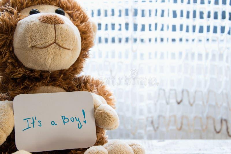 玩具熊拿着男婴的,文本的空间一张公告卡片 免版税图库摄影