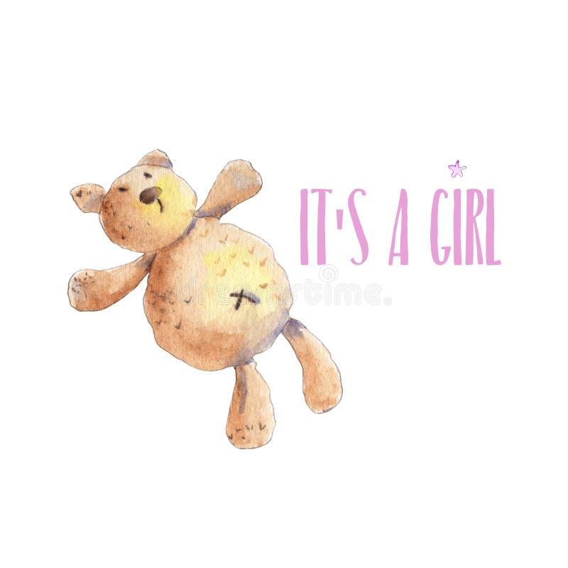 玩具熊新出生的卡片 向量例证