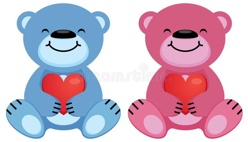 玩具熊桃红色和蓝色举行在他们的爪子的心脏标志 皇族释放例证