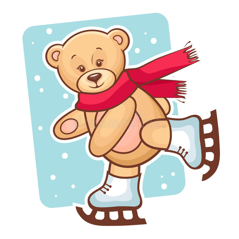 玩具熊滑冰 向量例证
