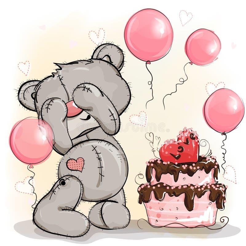 玩具熊生日男孩得到蛋糕作为礼物 库存例证