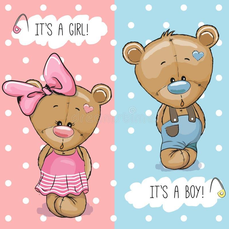 玩具熊男孩和女孩 库存例证