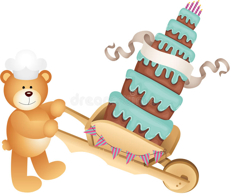 玩具熊运载的生日蛋糕 库存例证