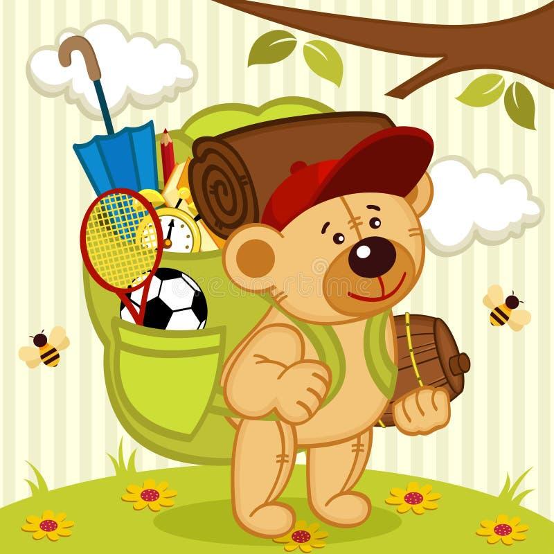 玩具熊去远足 库存例证