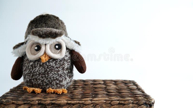 玩具猫头鹰坐一个柳条箱子 库存图片