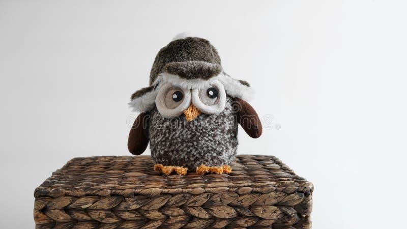 玩具猫头鹰坐一个柳条箱子 图库摄影