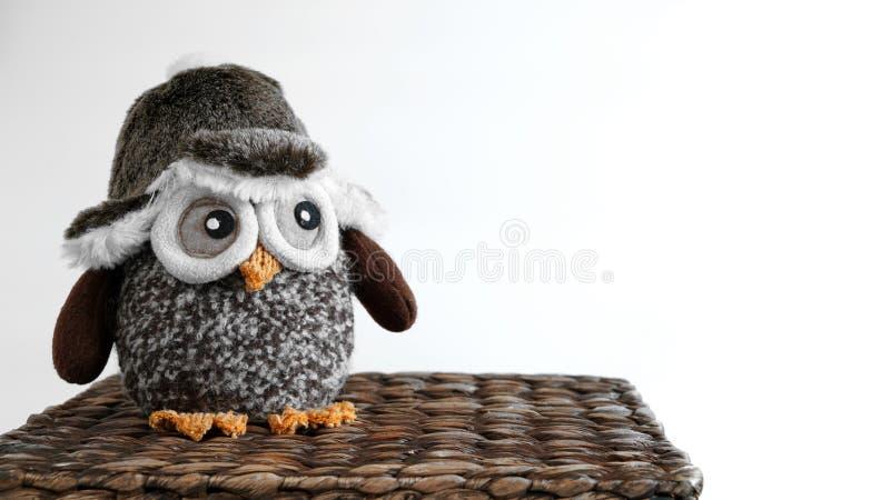 玩具猫头鹰坐一个柳条箱子 库存照片