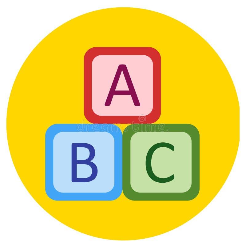 玩具象立方体在平的样式的 在回合色的背景的传染媒介图象 设计,接口的元素 向量例证
