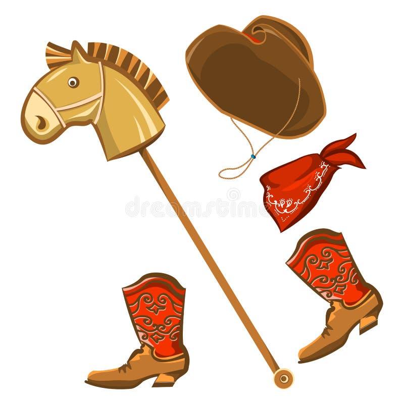 玩具马和牛仔儿童衣裳 库存例证