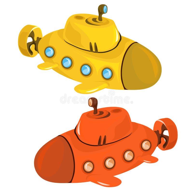 玩具黄色和橙色潜水艇 皇族释放例证