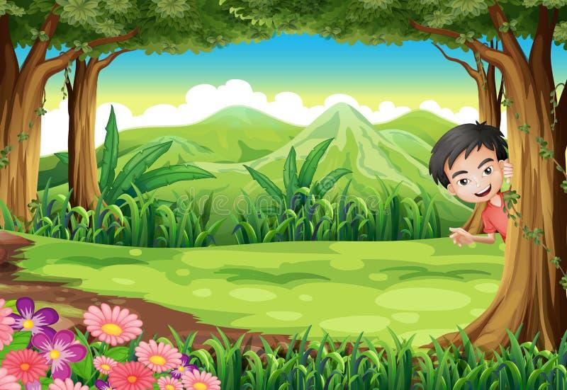 玩捉迷藏的一个微笑的男孩在森林 向量例证