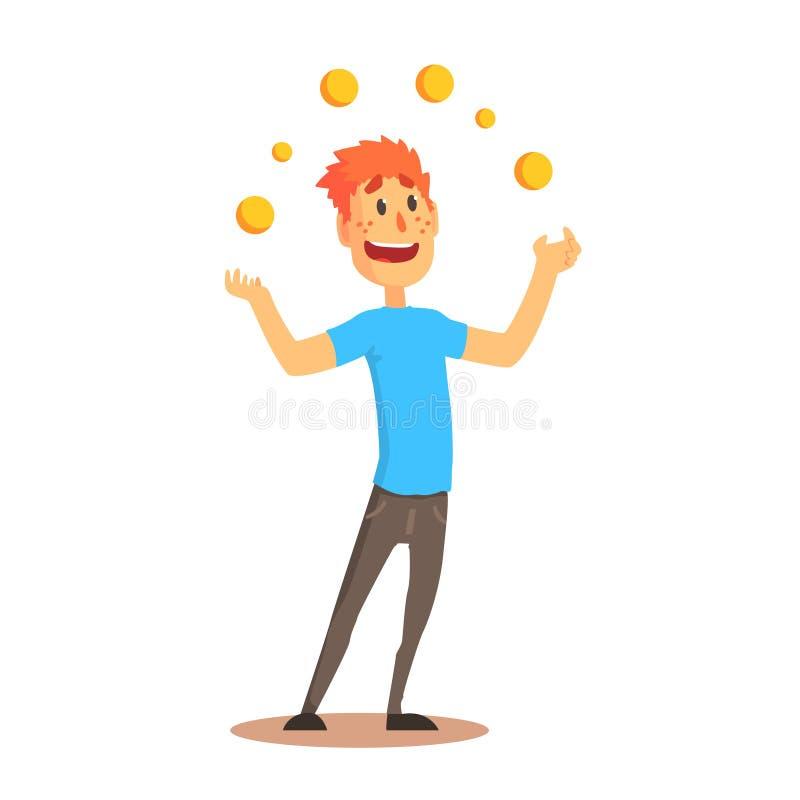 玩杂耍与橙色球、马戏或者街道演员五颜六色的动画片的年轻人字符详述了传染媒介例证 向量例证