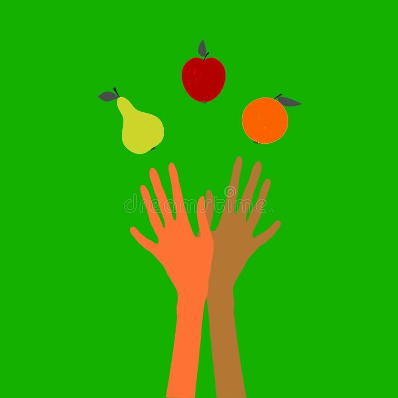 玩杂耍果子的手 向量例证