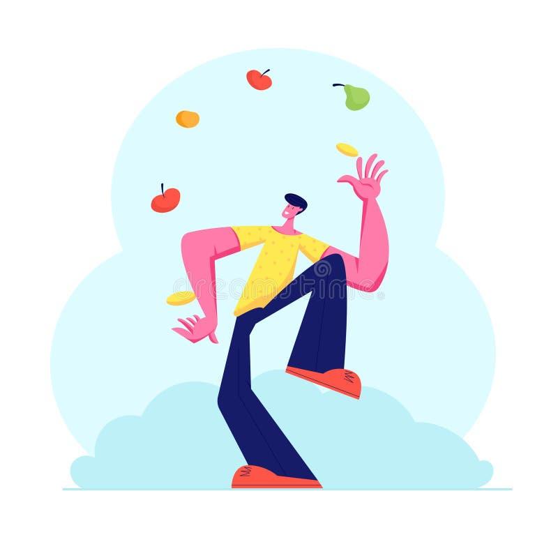 玩杂耍用不同的水果和蔬菜的人 投掷健康素食产品,维生素的变戏法者男性角色 皇族释放例证