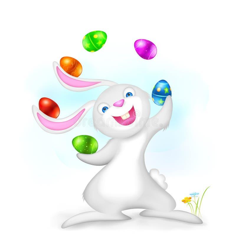 玩杂耍的复活节兔子 库存例证
