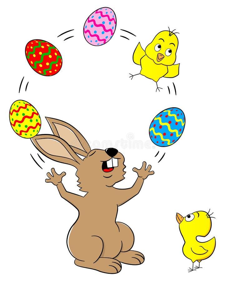 玩杂耍用复活节彩蛋和小鸡的复活节兔子 皇族释放例证