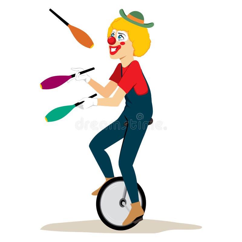 玩杂耍的单轮脚踏车 向量例证