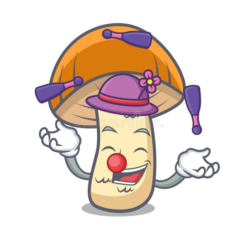 玩杂耍的橙色盖帽牛肝菌蕈类蘑菇吉祥人动画片 库存例证