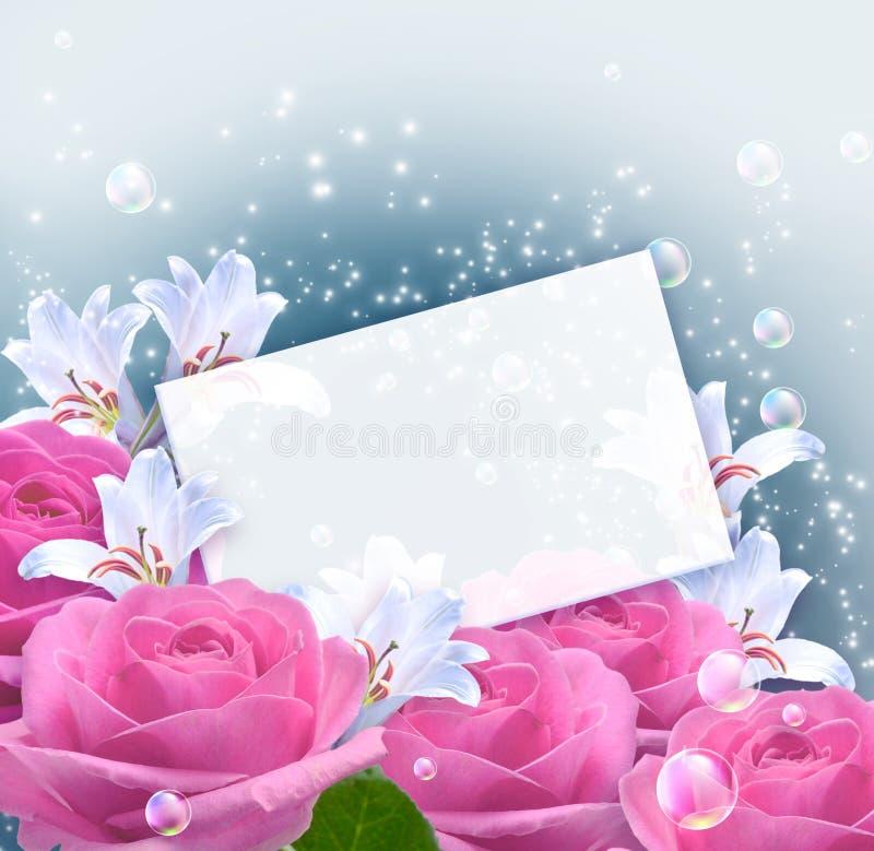 玫瑰、百合和纸张 皇族释放例证